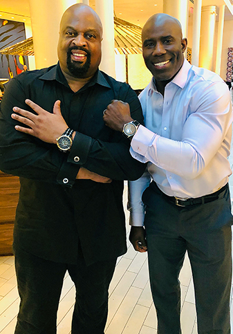 "Terrell Davis wearing ""Camelot Black 48mm"" with Banneker CEO Derrick Holmes wearing 1753 Rose Gold"